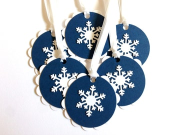 Snowflake Tags - Christmas Gift Tags - Winter Favor Tags - Winter Wedding Favor Hang Tags - To From Tags - Holiday Gift Wrap - Present Tags