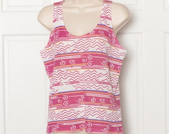 Fun Vintage Womens Tank Top - squiggle pattern
