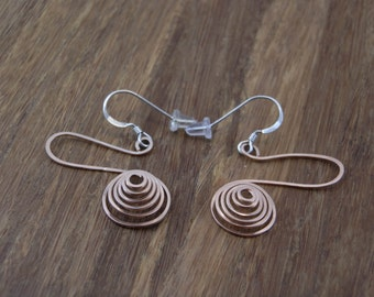 Rose Gold Spiral Earrings - Rose Gold Spirals - Hammered Rose Gold Spiral Earrings - Gold Spiral Earrings - Rose Gold Earrings