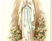 Our Lady of Lourdes in Grotto with Pink Roses & Rosary Antique French Holy Prayer Card, Catholic Gift from Vintage Paper Attic