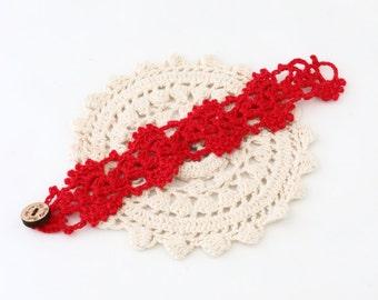 Crochet Bracelet - Crochet Cuff - Crochet Cuff Bracelet - Vegan Bracelet - Vegan Jewelry - Cruelty Free - Boho Jewelry - Red Bracelet