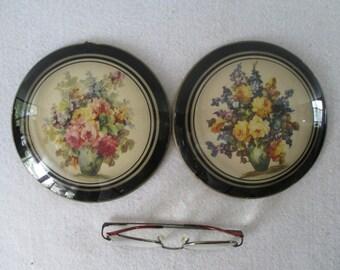 Peter Watson Style Prints, 2 Vintage, 6 Inch Round Floral Domed Convex Glass Bubble Glass Gold Trim Retro Victorian Decor Bildferbacks