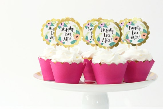 Wedding Cupcake Toppers Happily Ever After Tropical Flowers Beach Wedding Cake Topper Gold Foil Cupcake Toppers Floral Bridal Shower Decor