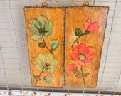 Vintage Decoupage Wall Art/Cottage Craft Project/Retro Pink and Green Decor/Hand Crafted Wall Hangings/Spring Flowers/Cabin Wall Plaques
