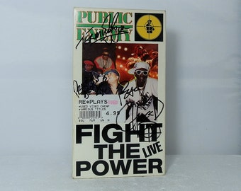 Vintage Public Enemy Autographed VHS Video Tape Fight the Power Live 1989 Signed by 3 Band Members Unusual Collectible