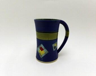 SALE*** Bright cobalt blue and green 16 ounce ceramic mug