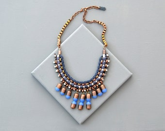 Tribal Necklace, Bib Necklace, Fringe Necklace,  Dark Blue Necklace, Statement Necklace, Fabric Necklace, Crochet Necklace, Bold Necklace
