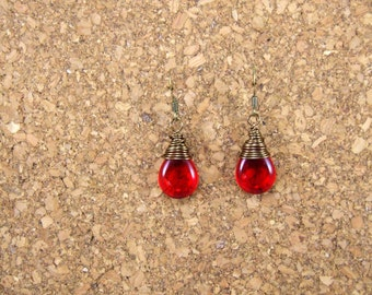 Siam Ruby Red Drop Antique Brass Wire Wrapped Earrings