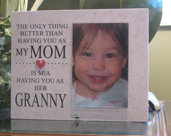 Granny Gift, Granny Picture Frame, Granny Frame, Granny Photo Frame, 4 x 6 photo, Ceramic Heart with crystal