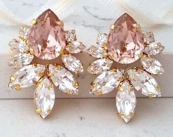 Blush Earrings,Morganite Earrings,rose gold blush Large Bridal Earrings,Bridesmaids Blush Earrings,Crystal Bridal Earrings, Blush Studs