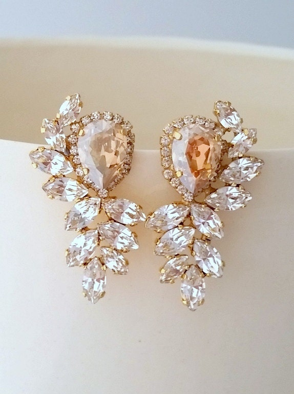 champagne and clear diamond statement stud earrings extra. Black Bedroom Furniture Sets. Home Design Ideas