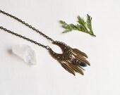 Coachella Jewelry, Crystal Quartz Necklace, Titanium Quartz Jewelry, Boho Necklace, Small Bohemian Necklace, Feather Necklace, Mystical