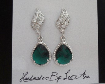Emerald earrings ~ Czech glass ~ Sterling silver posts ~ Elegant ~ Wedding Jewelry ~ May Birthstone ~ Bridal jewelry ~ Irish earrings ~GIFT