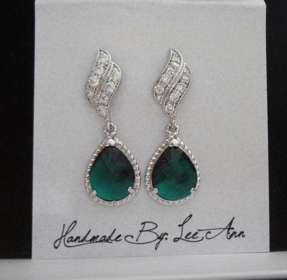 Emerald earrings ~ Czech glass ~ Sterling silver posts ~ Elegant ~ Wedding Jewelry ~ May Birthstone ~ Bridal jewelry ~ Irish earrings ~GIFT