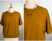 1970's Knit Short Sleeve Sweater. Pumpkin Spice. Size Large to XL. Haband! Brand.