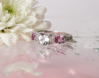 Silver Gemstone Ring, Natural Gemstone Ring, Herkimer Diamond. Pink Tourmaline, Sterling Silver Micro Pave