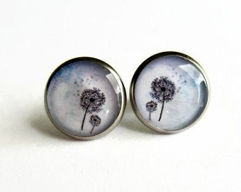 Lilac Blue Dandelion Earrings, Dandelion Seed Stud Earrings, Make A Wish Jewelry, Picture Post Earrings, Gift for Her. Hypoallergenic