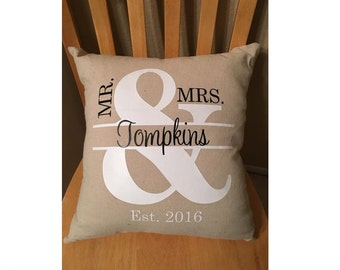 Monogram Pillow Cover, Wedding Gift Pillow Cover, Mr. and Mrs. Pillow with Established Date, 18 x 18 inches