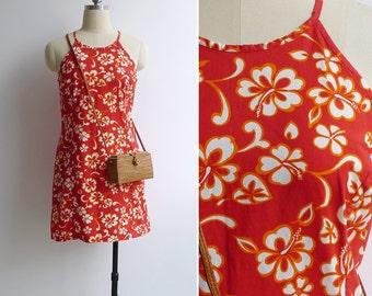 Vintage 90's Sporty Hawaiian Hibiscus Floral Beach Sun Dress S or M