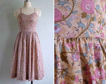 Vintage 80's Ralph Lauren Dusky Pink Floral Sun Dress XS or S