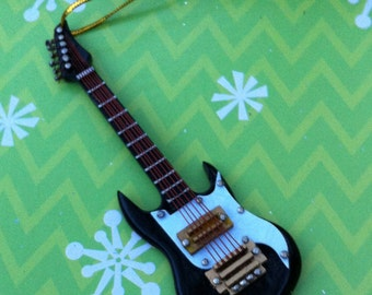 Electric Guitar Ornament, Black Guitar, 4 inches long, no sound
