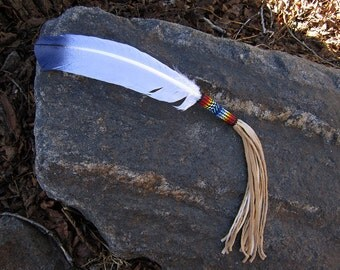 Peyote Stitch Smudge Feather - Hand Painted Eagle Feather - Hand Made in USA - Seed Beaded Feather