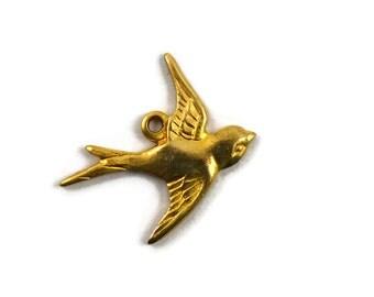 12 Brass Flying Bird Charm - Right Facing - Raw Brass