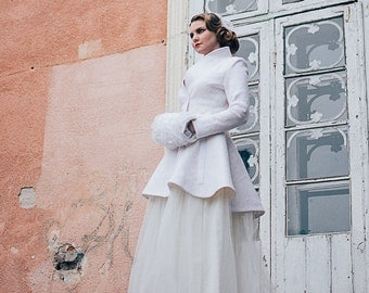 Bridal coat | Warm Elegant Bridal Felted coat | White wedding jacket | Wedding coat | White Wool coat | Brautmantel | peplum jacket