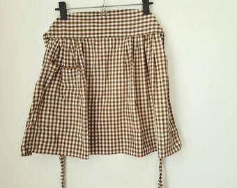 Vintage Gingham Half Apron in Brown and White