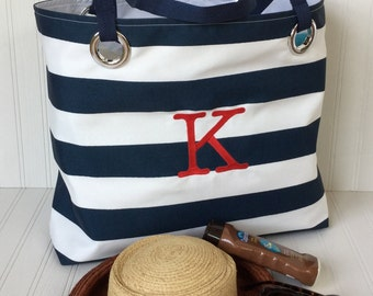 Beach Bag Nautical Navy Stripes Monogram Grad Gift Sailor Bag Personalized Tote Girlfriend Gift Extra Large Tote Summer Vacation!
