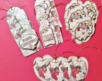 Christmas Tags, 14 Tags, Peace on Earth, Merry Christmas, Poinsettias, Roses, Strings Attached