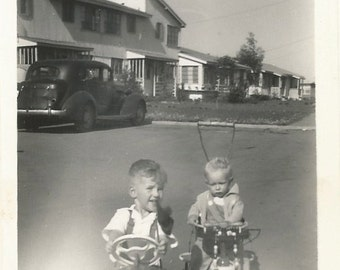 Pedal Car - Vintage Photo - Sunflare - Brothers - Boys - Vintage Snapshot - Old Car - Found Photo