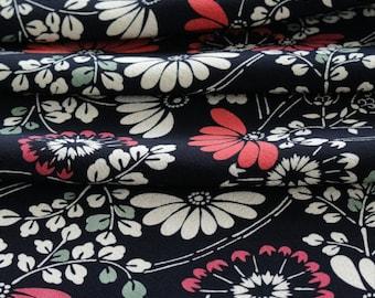 Vintage Kimono Silk, Black Kimono Fabric, Japanese Kimono, Black Crepe, Cherry Blossom Silk