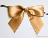 12 CARAMEL GOLD Pre-made Bow Embellishments