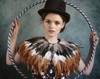 Natural feather shrug, steampunk cape, feathered capulet