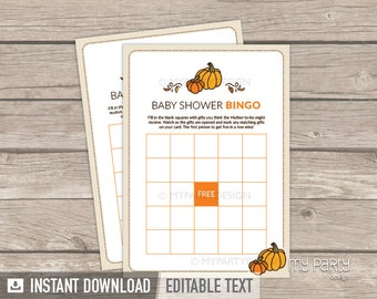 Baby Shower Bingo - Little Pumpkin Baby Shower - Fall Neutral - Baby Shower Game - INSTANT DOWNLOAD - Printable PDF with Editable Text