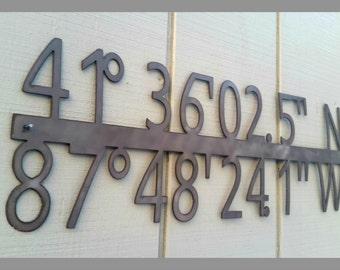 Stainless Steel GPS Coordinate Latitude Longitude Metal Sign – Custom Made Metal Sign - Wedding Gift – Housewarming Gift