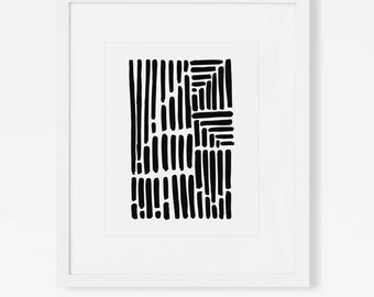Black and White Abstract Art Print - Minimalist Modern Artwork -  Expressionistic Pen and Ink Drawing - Portrait Landscape - 5x7 8x10 11x14