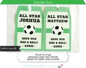 Soccer Birthday Party Thank You Tags - Ready to Print or Editable Text Template - Soccer Birthday - Soccer Favor Tag - Instant Download