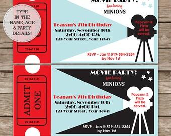 Movie Birthday Party Invitation - Movie Invitation - Movie Party Invitation - Instant Download & Personalize at home in Adobe Reader