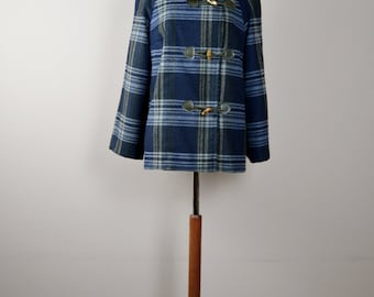 Plaid winter coat, Toggle coat, wool coat, jacket for women, cashmere coat, womens jacket, plaid coat