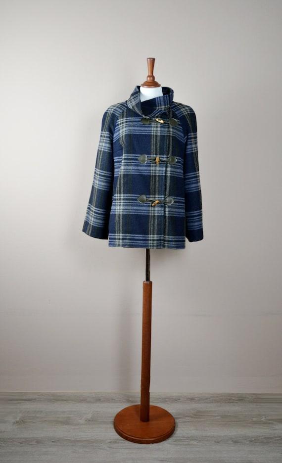 Plaid winter coat, Toggle coat, wool coat, jacket for women, cashmere coat, womens jacket, plaid coat