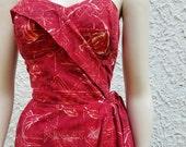 1950's Surfriders Hawaiian Sarong Cotton Strapless Dress