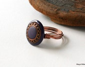 CLEARANCE Purple Sun Ring, Copper Wire Ring, Purple Button Ring, Wire Wrapped Ring, Button Jewelry, Clearance Ring, Resin Button Ring