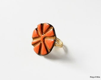Orange Enamel Ring, Metal Button Ring, Button Jewelry, Orange Button Ring, Wire Wrapped Ring, Sun Ring, Statement Ring, Round Button Ring
