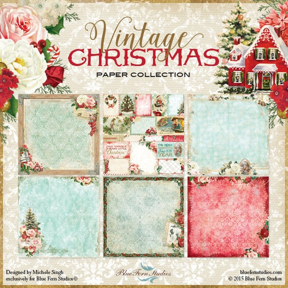 Blue Fern Vintage Christmas Collection 12 x 12 Scrapbook