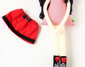 New '''' , Julia , soft doll, handmade  rag doll, wearing  beret ,scarf,skirt and socks ,  ready to ship,stuffed doll