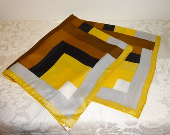 Vintage Scarf Vera Gold Brown Square Hand Rolled Rayon Silk Japan Geometric