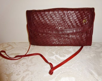 Vintage Aigner Purse Shoulderbag Woven Oxblood Leather Handbag
