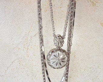 Vintage Silver Multistrand Pendant Necklace Multi Strand